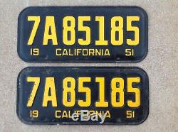 (2) Matching Pair 1951 California License Plates