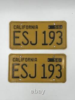 (2) Matching Pair 1956 California License Plates
