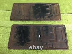 (2) Original 1931 California Black & Yellow License Plates CA Vintage, OEM Plates