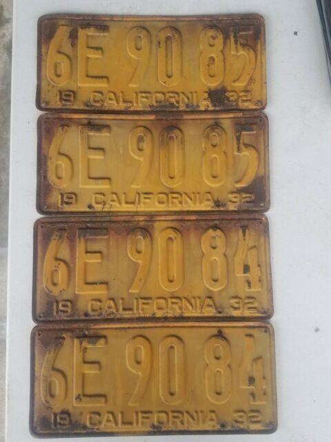 2 Pair 1932 California License Plates Dmv Yom Clear Sequential # Patina Rat Rod