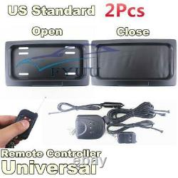 2 Pcs Shutter Electric Swap Shift Turn Blinds US License Plate Frame with Remote