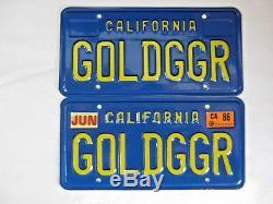 70's Era California License Personalized Vanity Plates GOLDGGR Gold Digger