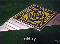 AAA California License Plate Frame Cast Aluminum with Porcelain Medallion