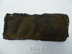 ANTIQUE 1912 CAL CALIFORNIA LEATHER LICENSE PLATE with FRAME