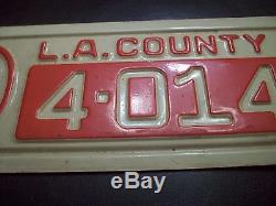 A+ 1941 California Ww2 License Plate L. A. County Fire Dept-emt-ambulance-police