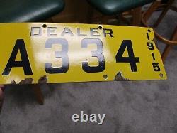 A++ Rare 1915 California Porcelain Dealer License Plate A 334