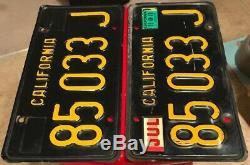 All Original Late 1960s Black California Truck License Plate Pair. 85 033 J