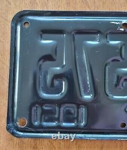 Antique 1951 California Motorcycle Black Yellow License Plate Pre-owned