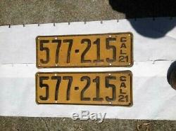 Antique Vintage 1921 Mod T California. License Plates Barn Find Macth Pair 1921