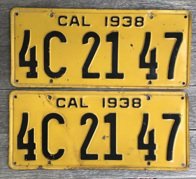Antique Vintage Pair 1938 California License Plates Dmv Clear