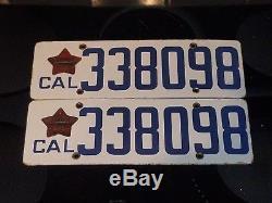 Antique Vtg 1919 Porcelain California Set License Plates Matching Star Tabs Nice
