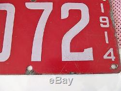 Antique porcelain license plate California 1914, stored in home, good condition