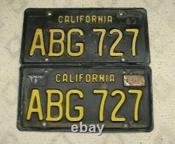B34 California 1963 Base Yellow On Black License Plate Pair Abg 727