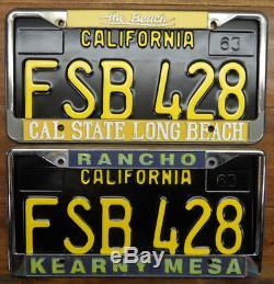 Beautiful, Unique Pair 1963, 68, 69 California License Plates, Fsb 428 DMV Ok