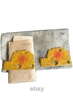 Beautiful 1917 California Poppy License Plate Tags Excellent Condition Rare
