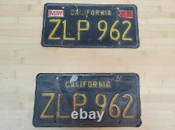 Black California Auto License Plate Plates Pair