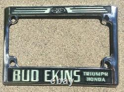 Bud Ekins Motorcycle Vintage Sherman Oaks California Triumph License Plate Frame