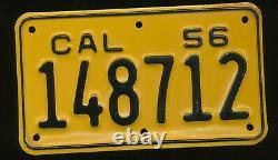 C3 California Nos Unused 1956 Motorcycle License Plate 148712