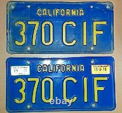 CALIFORNIA EARLY 1970s MATCHING SET VINTAGE LICENSE PLATES 1970 + 1971 TAGS