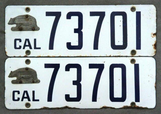California. 1916 Metal Tag. Porcelain. License Plate. Pair