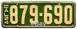 California 1924 License Plate Pair, 879-690, DMV Clear, YOM, Original Paint
