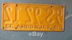 California 1932 License Plate