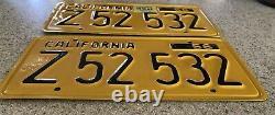 California 1956 Series Commercial License Plates (Pair), DMV Cleared, Original