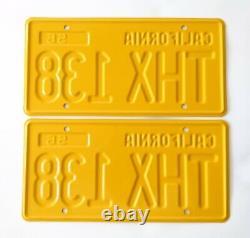California 1956 Yellow License Plates American Graffiti 1932 Ford THX 138 (pair)