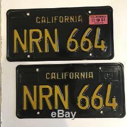 California 1963 BLACK LICENSE PLATES 1968 tag DMV clear YOM