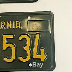 California 1963 BLACK LICENSE PLATES 1969 tag DMV clear YOM