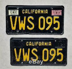 California 1963 BLACK LICENSE PLATES VW bus bug Volkswagen 1968 1969 1967 1966