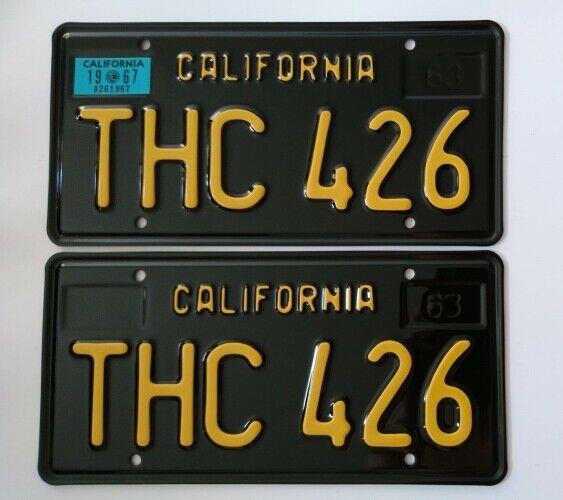 California 1963 Black License Plates Mopar Hemi Thc 426 1967 (pair)