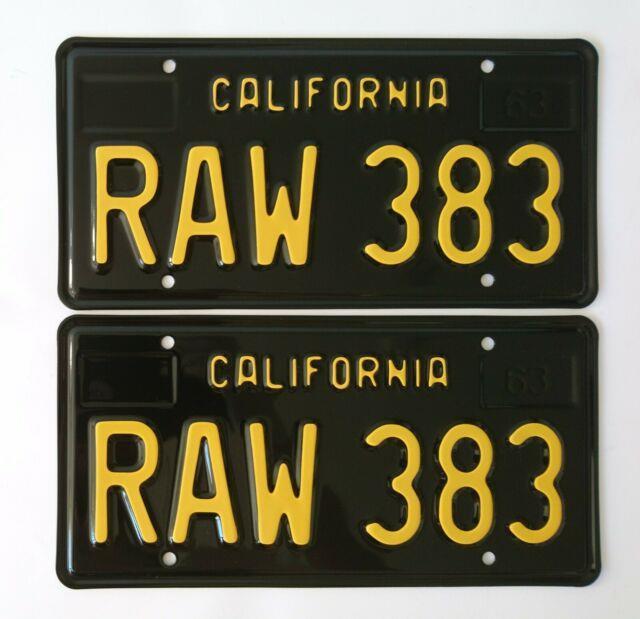 California 1963 Black License Plates Mopar Raw 383 (pair)