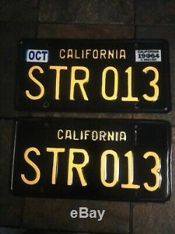 California 1963 Black License Plates Pair DMV Clear/ Beautifully Restored