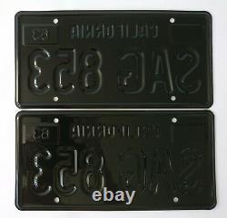California 1963 Black License Plates SAG 853 (pair)
