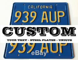 California 1969-76 Blue License Plate Custom Repro Made of Steel 2 Plates (pair)
