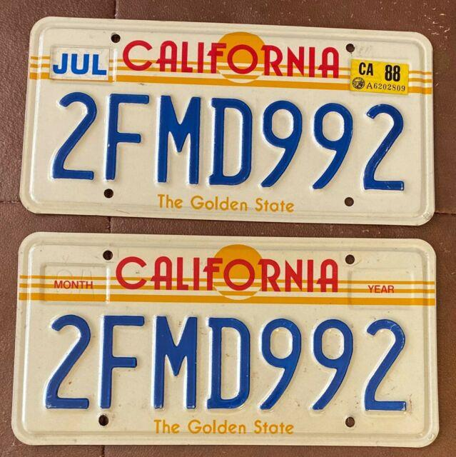 California 1988 Sun Graphic License Plate Pair High Quality # 2fmd992