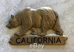 California Bear Badge License Plate Frame Topper Vintage Original Antique