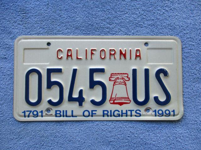 California Bill Of Rights License Plate #0545 Rare Item