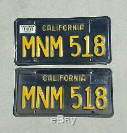 California Black 1963 1965 1969 License Plate Pair Dmv Clear