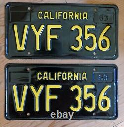 California Black License Plate Pair Restored Porsche 356 DMV Clear Last Pair