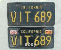 California Black & Yellow License Plate Pair of 1963 CA Vintage Original
