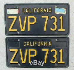 California Black & Yellow License Plate Set 1963 CA Vintage Original