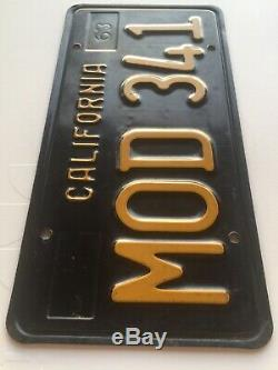 California Black & Yellow License Plate Set 1963 CA Vintage Original 65 66 67 68