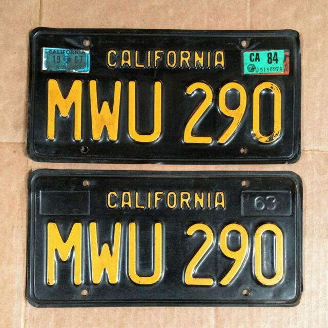 California Black And Yellow Vintage License Plates