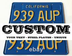 California Blue License Plate 69-76 Custom Repro Made of Steel 2 Plates (pair)
