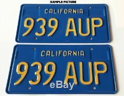 California Blue License Plate Custom Repro Made of Steel 2 Plates (pair) 1969-76