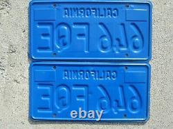 California Blue License Plate matched pair, 1972 1973 sticker DMV Clear, cool Q