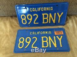 California Blue License Plates Pair DMV Clear 1970 to 1980 70 71 72 73 74 75 76