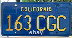 California CAR License Plates 163 CGC 1970-1980 DMV Clear 1971 1972 YoM Set Blue